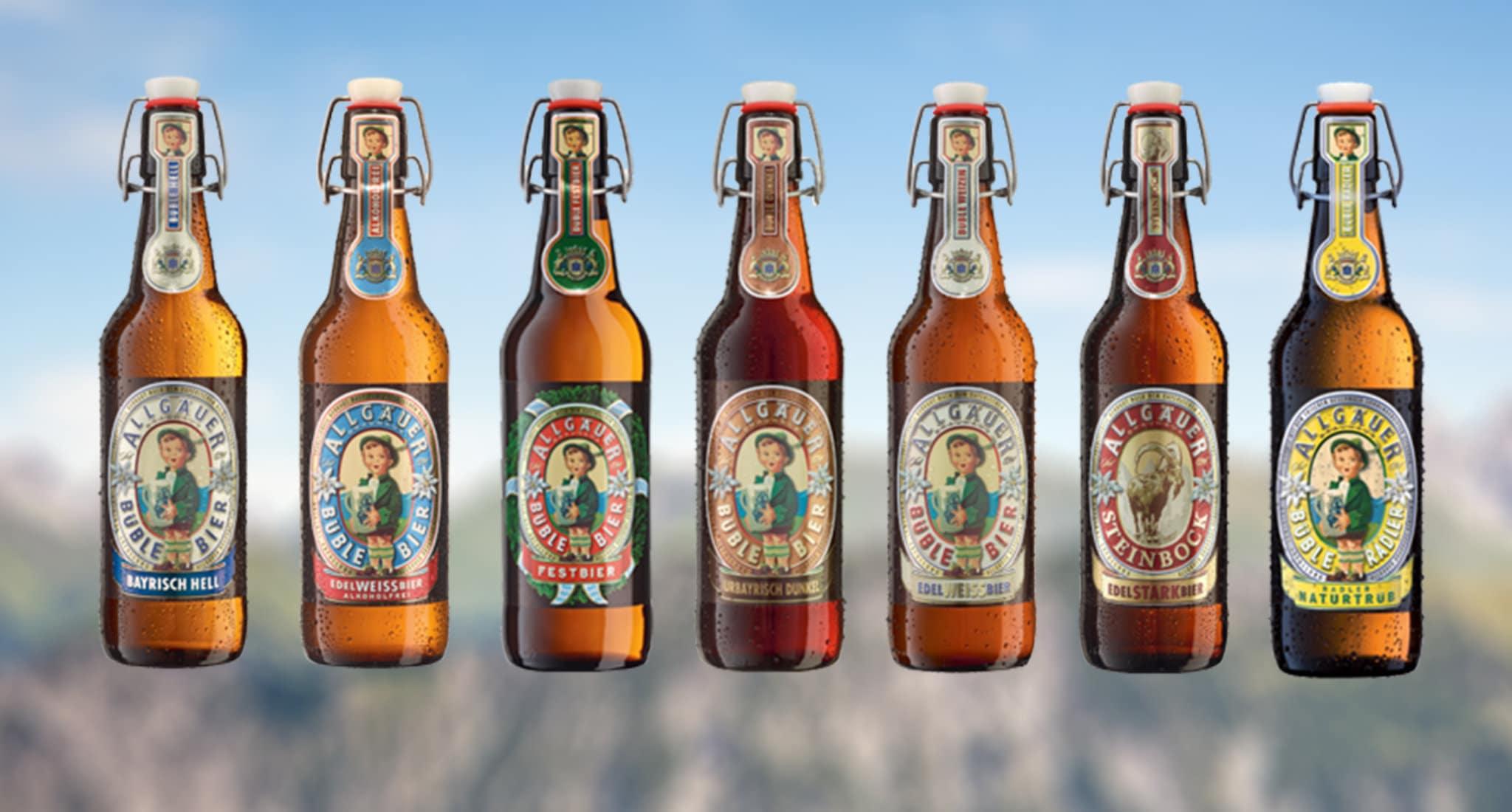 Exklusives Vollsortiment: Büble Bier aus dem Allgäu
